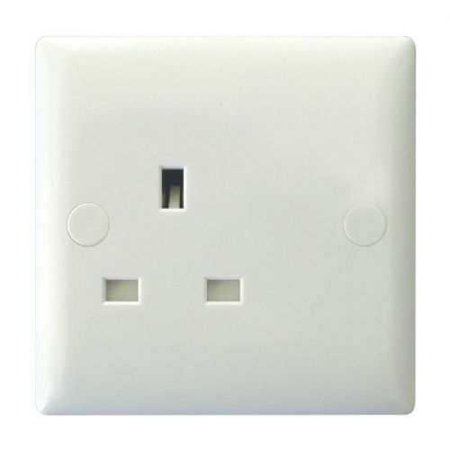 Varilight XO4UW Value Polar White 1 Gang 13A Unswitched Plug Socket